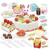 welltop 85 Piezas Tarta Cumpleaños Juguete, Alimentos Juguete, Corte Pastel de Cumpleaños con...
