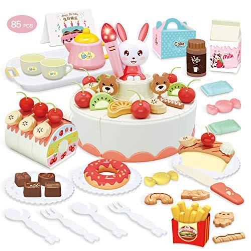 welltop 85 Piezas Tarta Cumpleaños Juguete, Alimentos Juguete, Corte Pastel de Cumpleaños con Velas de luz y Sonido para niños de 3 4 5 6 años de Edad, niño niña