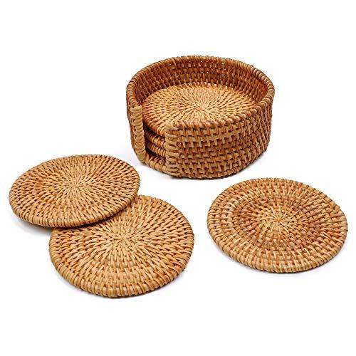 Yazi rund Untersetzer 10cm Bambus Home Craft mit Halter Esszimmer Küche Kunst Dekoration 6Stück