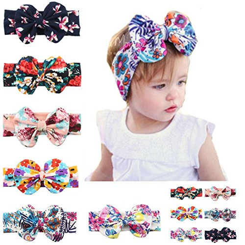 6 Pack Baby Girls Big Hair Bows Boho Headbands Mix color Hair Wrapped Headbands Turban Knotted