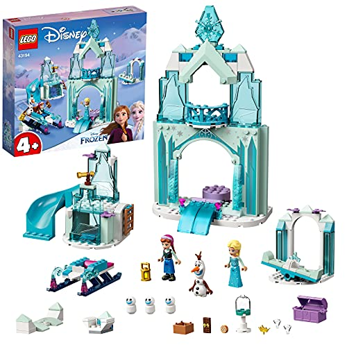 LEGO 43194 Disney Le Monde féérique d'Anna et Elsa de la Reine des Neiges avec château et poupées de Princesses, Enfant 4 Ans et Plus