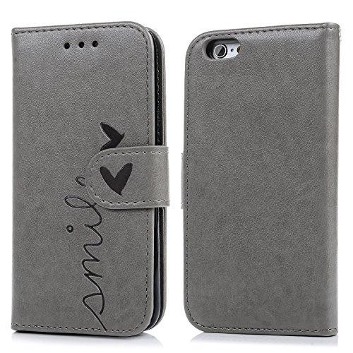SUPWALL iPhone 6 Cover, iPhone 6s Custodia Pelle Premium PU e Silicone TPU Case [2 in 1, Separato] - Flip Custodia Morbido Leather,Goffratura Amare, Chiusura Magnetica, Supporto Stand - Grigio