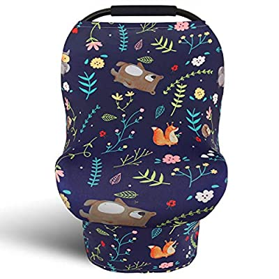 Nursing Covers Breastfeeding Cover, Stretchy Newborn Car Seat Canopy, Soft Breathable Infant Stroller/Shopping Cart/High Chair Cover, Boys and Girls Shower Gift(Bears) by shenzhenshi qifeiyang maoyiyouxiangongsi