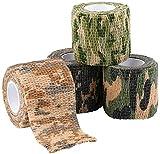 SUPEROK Nastro in Tessuto,Camo Nastro Tessuto Camouflage,per Camping Caccia Shotguns, Autoadesivo Protettivo Allungare Rotolo di Bendaggio, Durevole e Riutilizzabile,(Confezione da 4)