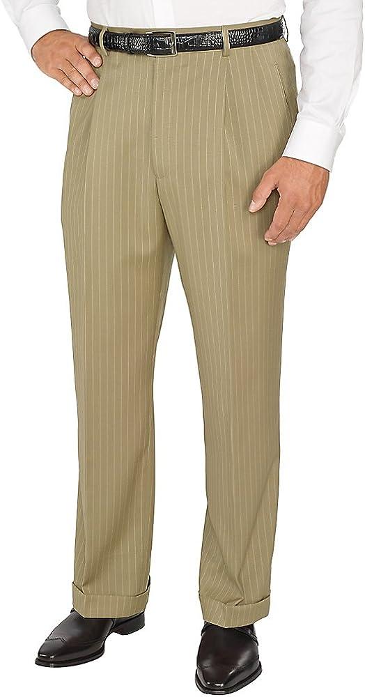 Paul Fredrick Men's Comfort-Luxe Italian Wool Pleated Pants