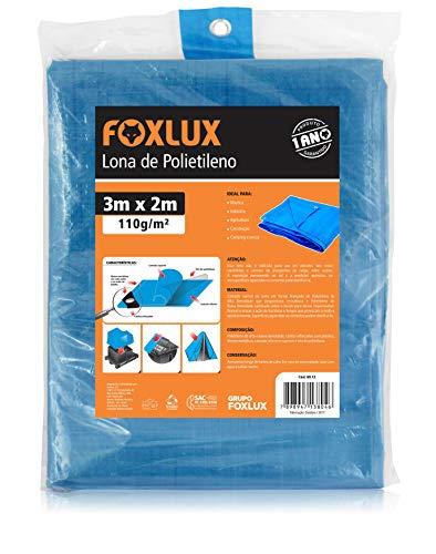 Lona de Polietileno Foxlux – Azul – 3M x 2M – 150 micras – Lona plástica com ilhós – Impermeável – Multiuso