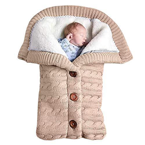 Baby Schlafsack für Kinderwagen Gestrickt Schlafsack Süße Samt Warme Tasche Pucksack Stricken Wickeln Abnehmbare Ärmel Strick Decke Schlafsack Swaddle für Babys Neugeboren (Beige , Einheitsgröße )
