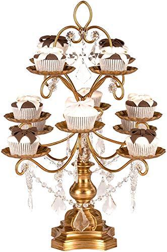 Amalfi Decor Dessert Cupcake Stand, Display Pedestal with Crystals, Gold, 12 Piece