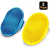 Dog Grooming Brush, CWXZSTM Pet Shampoo Bath Brush Soothing Massage Rubber Comb with Adjustable Ring Handle for Long Short Haired Dogs and Cats 2pcs