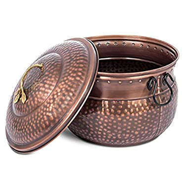 BirdRock Home Water Hose Holder with Lid | Ground Garden Hose Pot | Decorative | Handle | Embossed | Steel Metal with Copper Accents | Outdoor or Indoor Use