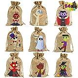 JOYIN 54 Pcs Halloween Burlap Treat Bags, Goodie Gift Bags with Drawstrings for Halloween Trick-or-Treating, Burlap Candy Bags for Halloween Party Favor