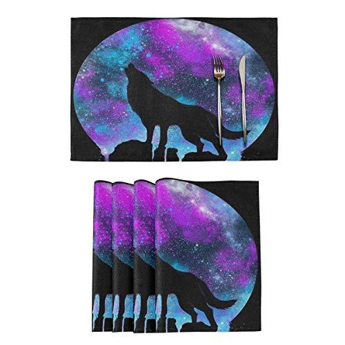 Tischsets Fleckenresistente waschbare Tischsets Galaxy Wolf 12 x 18 Zoll Küchen-Esstisch