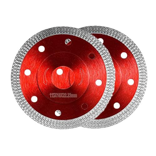 Juego de 2 discos de corte de diamante para azulejos, gres porcelánico, 115 x 22,23 mm, 115 mm, para azulejos, granito, etc. (para amoladora angular de 115 x 22,23 mm de diámetro)