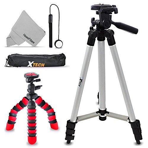 "Xtech Double Tripod Kit with 50"" Inch Tripod + 12"" Flexible Tripod for Nikon Coolpix W300, W100, A900, AW130, AW120, A10, A100, S33, S32, S9900, S7000, S6900, L31, L32, S3700, S2900"
