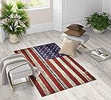 Tex family Alfombra Fantasy HD moderna para dormitorio y salón con bandera vintage americana, 120 x 180 cm