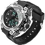 腕時計 デジタル メンズ 日付 曜日表示 夜光ディスプレイ 日常防水 アナデジ 通勤 スポーツ用 ウォッチ (ブラック シルバー)