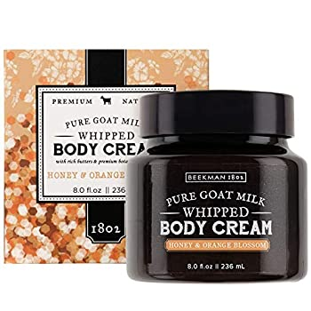 Beekman 1802 - Whipped Body Cream - Honey & Orange Blossom - Goat Milk Body Butter Daily Hydration for Dry Skin - Naturally Exfoliating Body Cream for Sensitive Skin - Goat Milk Bodycare - 8 oz