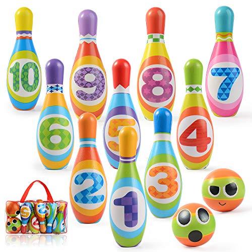 Ulikey Juego de Bolos para Niños con 10 Alfileres y 2 Bolas, Bowling Set, Bolera de Juguete Educativos, Bolos Infantiles Juegos Exterior Juguete Interactivos 3 4 5 Años (10 Alfileres + 2 Bolas)