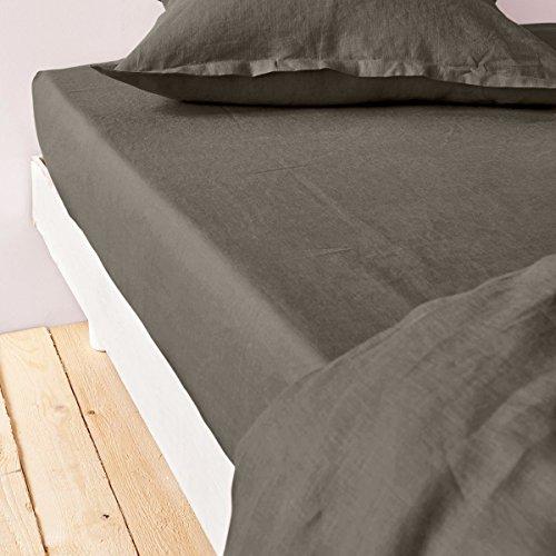 Home Inspiration Drap Housse, Coton, Gris Fonce, 140x190 cm
