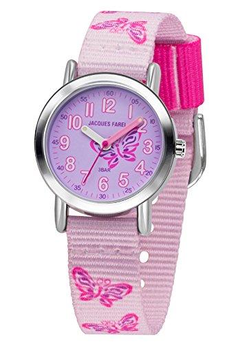 JACQUES FAREL Mädchenuhr Stoffband Schmetterlinge lila pink Metall Mädchen Quarz analog KPS 504