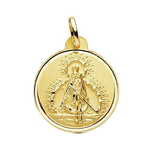 Medalla Oro 18K Virgen De La Cabeza 22mm. Bisel Liso [Ab3442Gr] - Personalizable - Grabación Incluida En El Precio