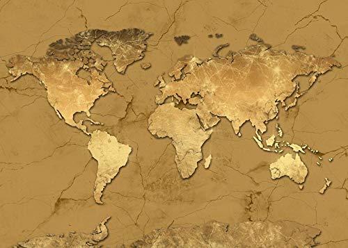 Mapa del mundo Impresión de lienzos Mapa del mundo Mapa del mundo moderno de oro Mapa del mundo impermeable impermeable mapa espectacular decoración del hogar-60x85cm_HZ15830