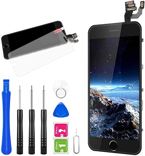 FLYLINKTECH Pantalla para iPhone 6,Táctil LCD de Repuesto Ensamblaje de Marco Digitalizador con botón de Inicio,cámara Frontal,Sensor de proximidad,Altavoz y Herramientas (Negro)