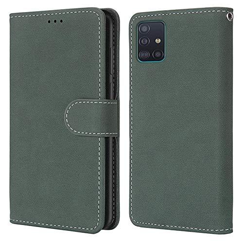 Happy-L Funda para Samsung Galaxy A51, acabado mate, funda tipo cartera de piel sintética, estilo libro, con función atril (color verde)