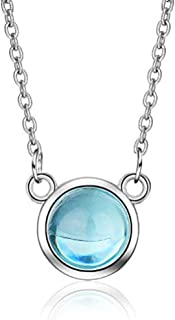 Ladies Necklace Necklace Silver 925 Blue Crystal Stone Necklace Pendant Girl Party Accessories