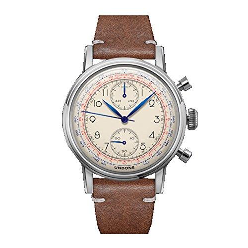Undone 'Urban Orologi che Passione' Chronograph Hybrid Quarz Mechanisch Edelstahl Weib Leder Braun Vintage Herren Uhr