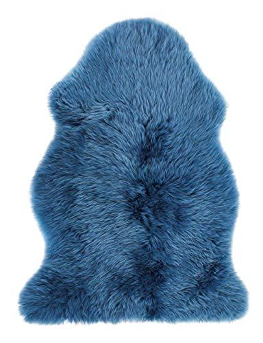 Luxor Living, Kuscheliges Schaffell, 100% Lammfell mit Lederrücken, echtes Fell, Farbe:Aschblau