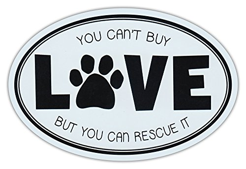 Oval Car Magnet - Can't Buy Love, But Can Rescue It - Rescue Dogs Magnetic Bumper Sticker