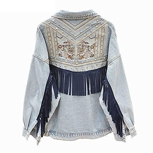 HUITAILANG Giacca di Jeans Donna, Giacca di Jeans con Frange Ricamate Floreali Coreane, Cappotto di Moda, Azzurro, Grande
