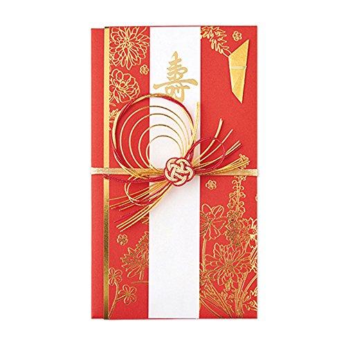 マルアイ 祝儀袋 結婚式 デザイン 洋風 百花 金封 赤 1枚 キ8R