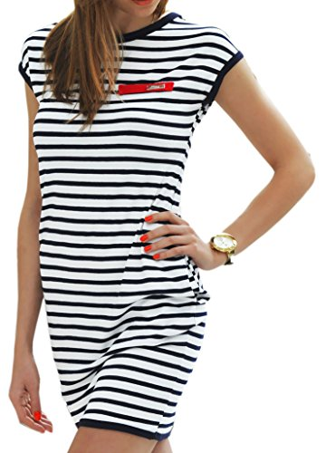 Sommer SeXy Tunika mit Streifen Minikleid Sommerkleid Top Blogger Style S-XL 36-42 (340) (S, Weiß)
