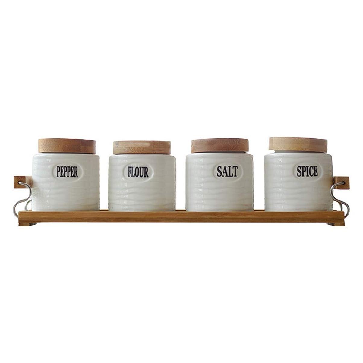 メタルライン入射巻き取りセラミックスパイスジャーセットウッドカバー調味料ボックス塩収納ボックスラック付きキッチン用品アクセサリー