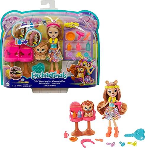 Enchantimals Lacey Lion y Salón de Belleza Muñeca con mascota, set de juego y...