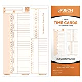 uPunch 100 Time Cards for CR1000 Digital Time Clock & Date Stamp