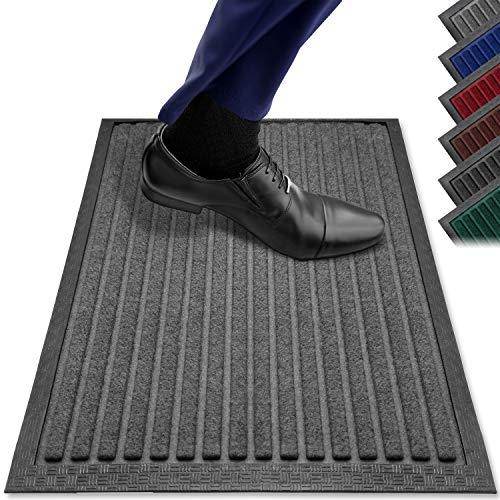 PazCaz Zerbino grigio [Extra sottile e antiscivolo] Dimensione ottimale per la porta di casa, per esterni e interni, zerbino esterno con fondo antiscivolo | Tappetini grigio 40 x 60 cm