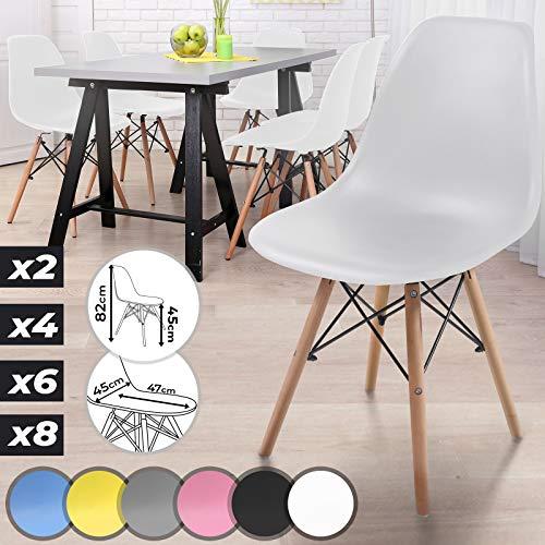 Esszimmerstühle 2er 4er 6er 8er Set - Kunststoff, Metall, Massivholz, Farbwahl - Küchenstuhl im skandinavischen Stil, Bürostuhl im Vintage Retro Design, moderne Wohnzimmerstühle, Lounge (6er, Weiß)