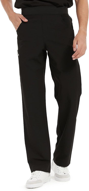 COMENII Scrubs Pant Men, Mid Rise Straight Leg Cargo Mens Scrubs Pants with Knit Yoga Waistband, Medical Scrubs for Men