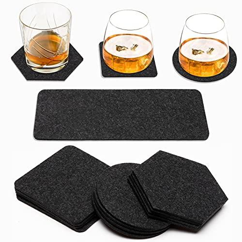 WATINC 13pcs Felt Drink Coasters Set include 4 Shapes, Plastic...