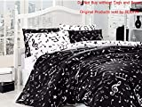 Full Double Queen Size Black White Music Written Music Aide-Memoire Duvet Cover Set With 6 Piece