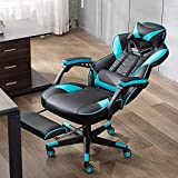 Bonzy Home Gaming Chair Computer Office Chair Ergonomic Desk Chair with Footrest Racing Executive Swivel Chair Adjustable Rolling Task Chair(Hatsune Green)