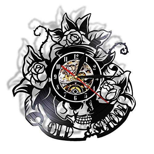 llvvv Tatuaje de Calavera con Registro de Vinilo Rosa Reloj de Pared Esqueleto Calavera Thorn Roses Reloj de Pared de Cuarzo silenciosoDecoración de Pared para el hogar