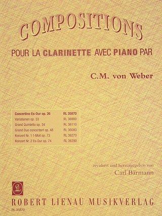 CONCERTINO ES-DUR OP 26 - arrangiert für Klarinette - Klavier [Noten/Sheetmusic] Komponist : WEBER CARL MARIA VON