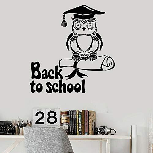 Zurück zur Schule Wandtattoo Eule Junggesellenhut Wissen Vinyl Wandbild 30 * 31 cm