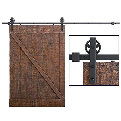 "SMARTSTANDARD 12 Feet Heavy Duty Sliding Barn Hardware Kit, Black, Smoothly and Quietly, Simple and Easy to Install, Fit 72"" Wide Door Panel (Industrial Bigwheel Hangers)"