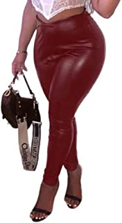 VERWIN PU Leather Faux Leather Leggings Clinging Elastic Pants Sexy Stretchy Fashion Leggings for Women