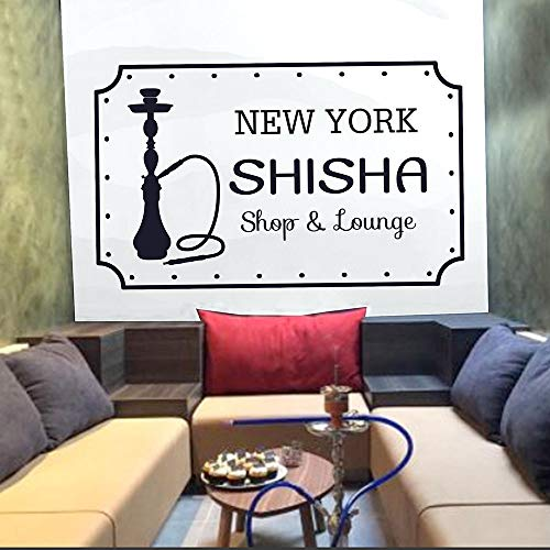WGWNYN Shisha Club Wandtattoos Zitate Kunst Wand Vinyl Aufkleber Wandtattoos Shisha Shop Shisha New York Muster Abnehmbar 57x34cm